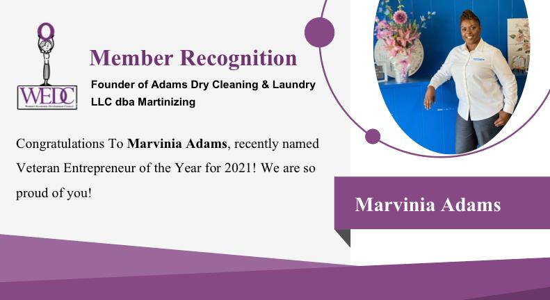 Congratulations to Marviana Adams for being named Veteran Entrepreneur of the Year! What an honor!